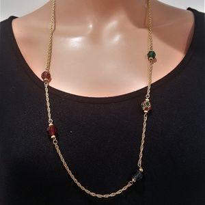 Swarovski Swan Gold Chain Crystal Beads Necklace